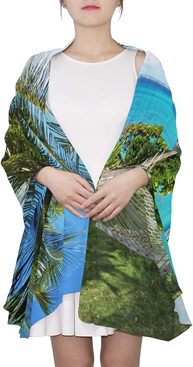 Hammock Honeymoon Holiday Between Palm Trees Unique Fashion Scarf For Women Lightweight Fashion Fall Winter Print Scarves Shawl Wraps Gifts For Early Spring