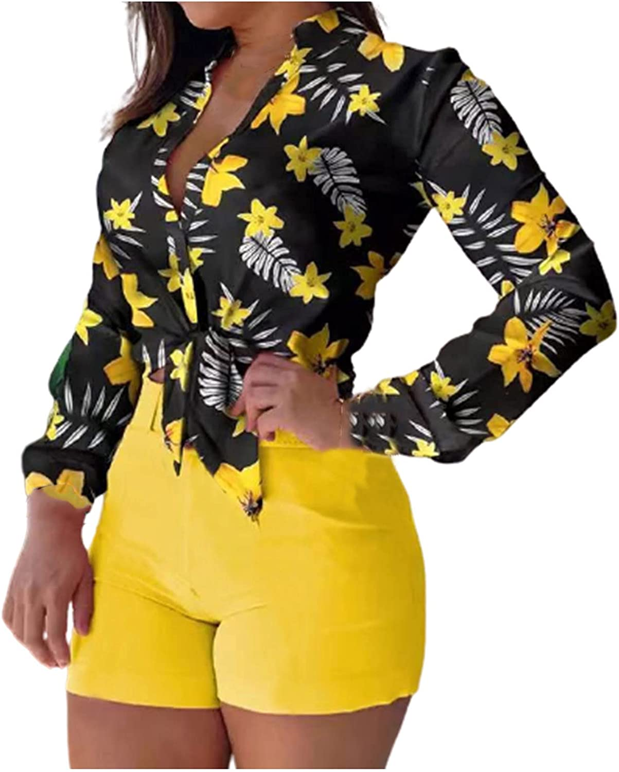 Womens Summer 2 Piece Outfits Fashion Flower Print Long Sleeve Shirt Tops Solid Color Shorts Set Casual Clubwear Suit