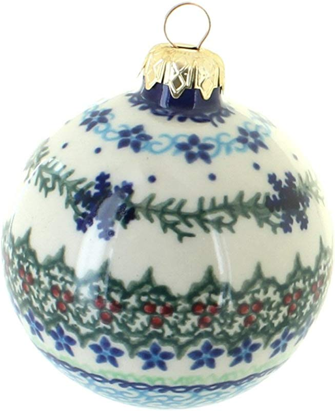 Vena Blue Rose Polish Pottery Winter Celebration Large Christmas Ball