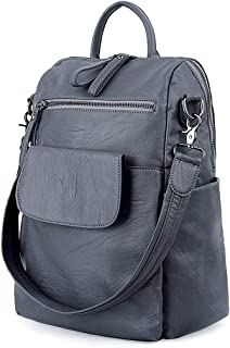Women Backpack Purse 3 ways PU Washed Leather Ladies Rucksack Shoulder Bag