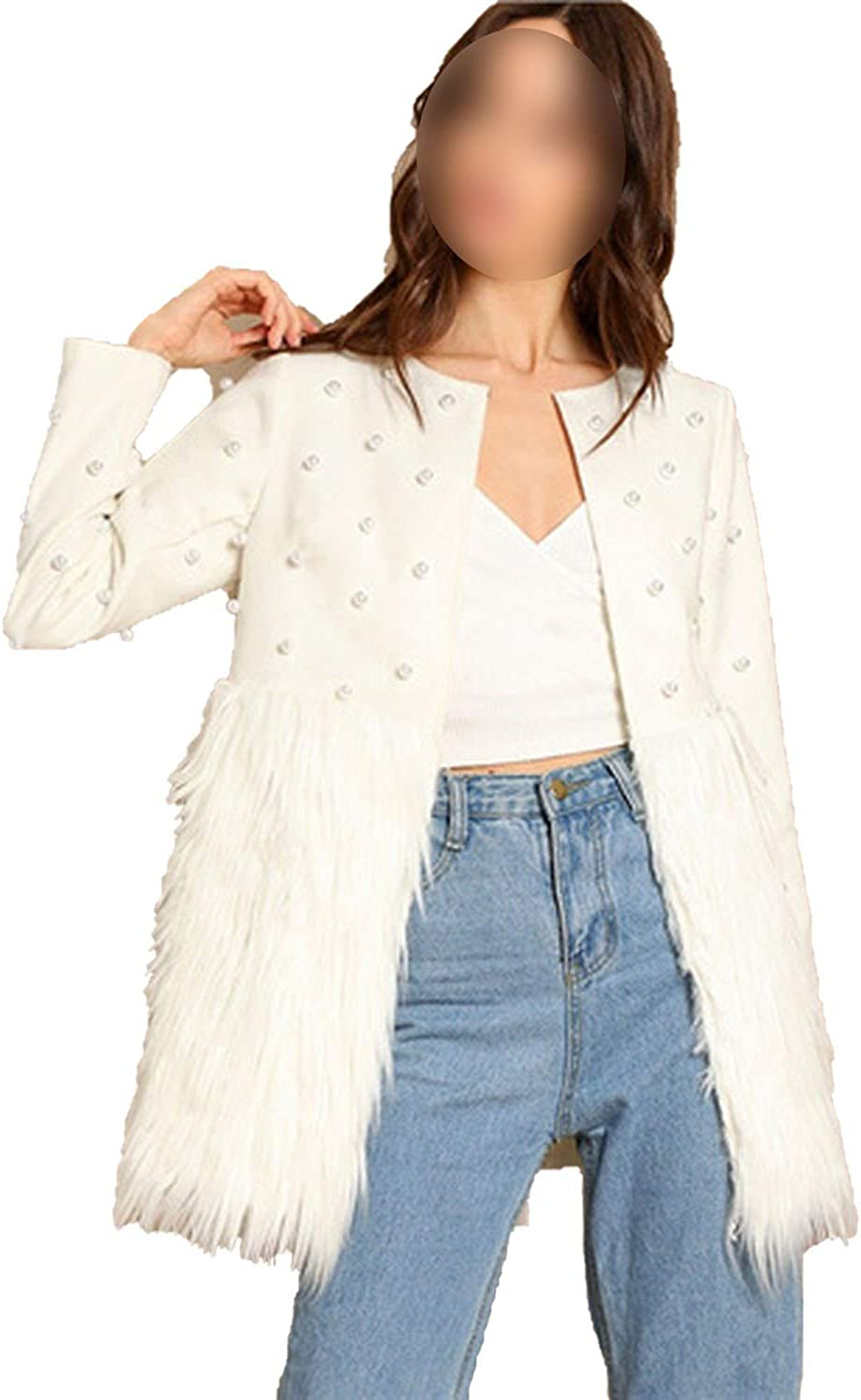 EnjoySexy White Solid Pearl Embellished Faux Fur Round Neck Jacket Autumn Workwear Coat Outerwear