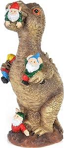 "RaTune Garden Gnome Statues Outdoor Decor, Dinosaur Eating Gnomes Garden Art Decor, Outdoor Statue for Patio, Lawn, Yard Art Decoration, Housewarming Garden Gift, 11.8 × 4.7 × 3.9"""