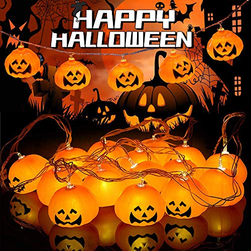 Lights4fun Catena di Luci con 20 Zucche e Micro LED Bianco Caldo a Pile per Halloween