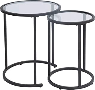 Glass Nesting Side Tables, Coffe Table Stacking end Table Set of 2(Black)