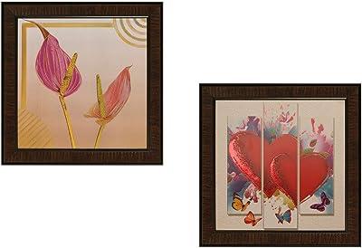SAF Abstract Textured UV Print Painting(Set of 2, 35 cm x 2 cm x 35 cm) SANFAD160 SANFAD160
