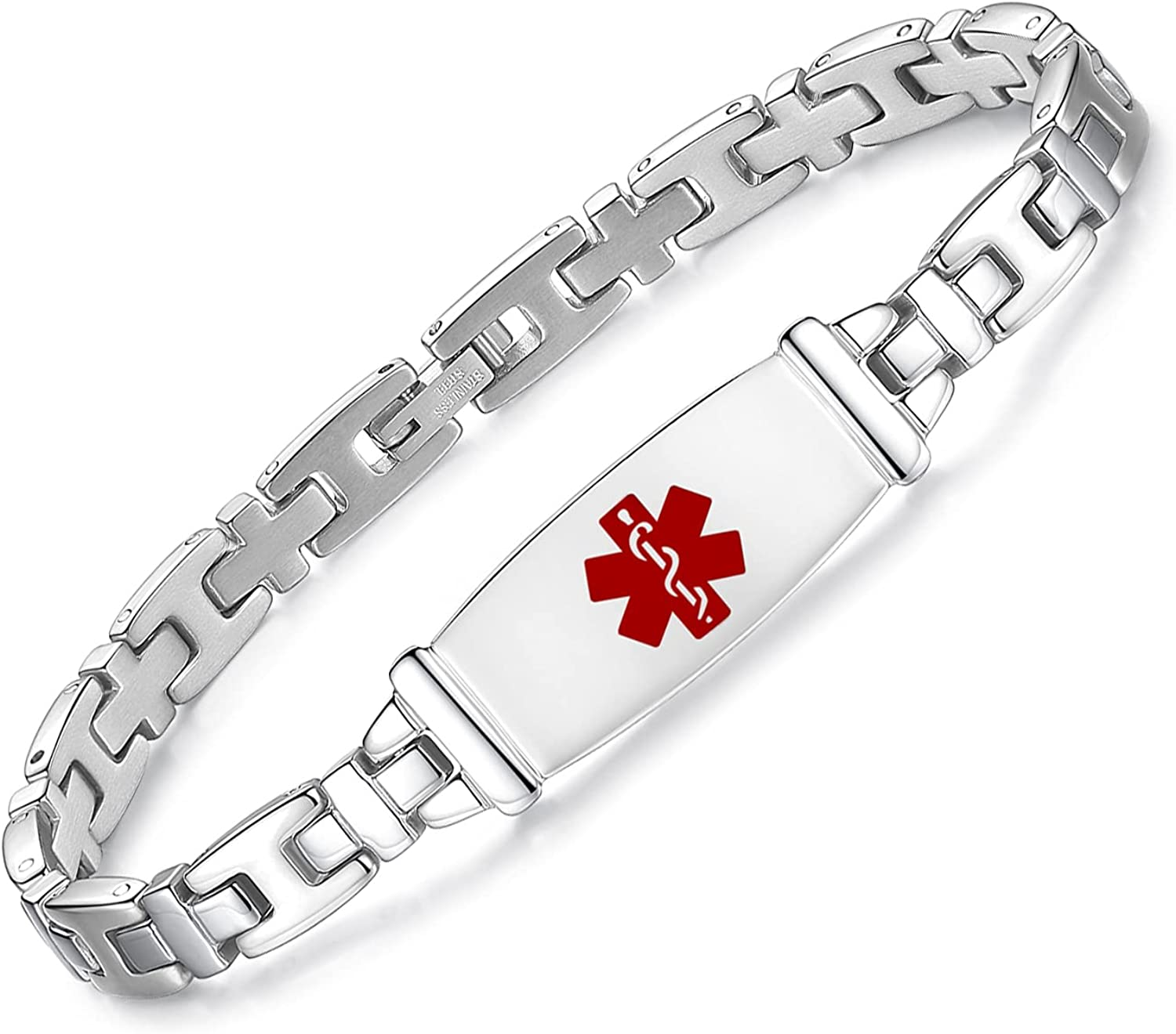 Fashion Lady Stainless Steel Medical Bracelets trust with Jacksonville Mall Alert Fre id