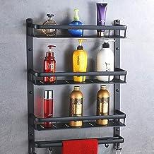 Yxsd Aluminium badkamerstandaard, wandmontage voor badkamer, make-up standaard, handdoekenrek, keukenplank (Kleur: Drie la...