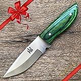 Hobby Hut HH-322, Cuchillo de Caza Hecho a Mano de Acero 420 C con Funda de Cuero, Cuchillo de Hoja Fija para bujías diseñado para Camping