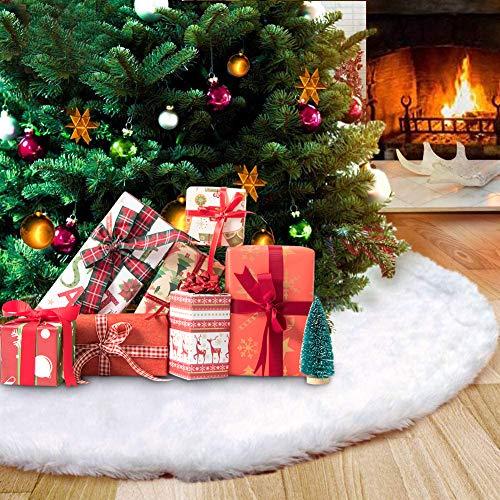 Eyscoco Plüsch Weihnachtsbaum Röcke, Weihnachtsbaumständerhüllen Weihnachtsschmuck Kunstfell Weiß Weihnachten Baum Rock Urlaub Baum Ornamente Dekoration für Weihnachten (White)
