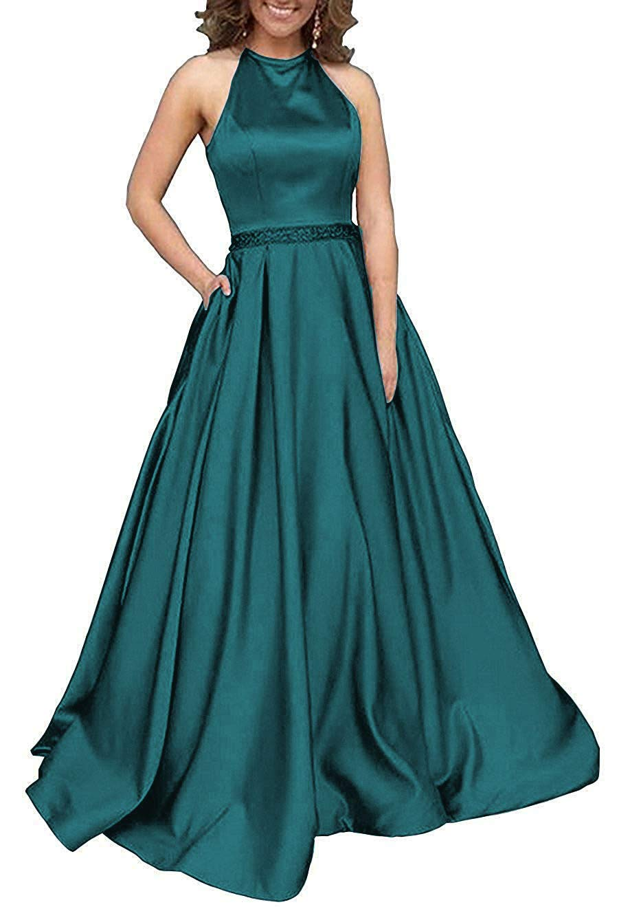 Available at Amazon: Halter Prom Dresses Long Satin Backless Beaded Evening Formal Gowns with Pockets for Women