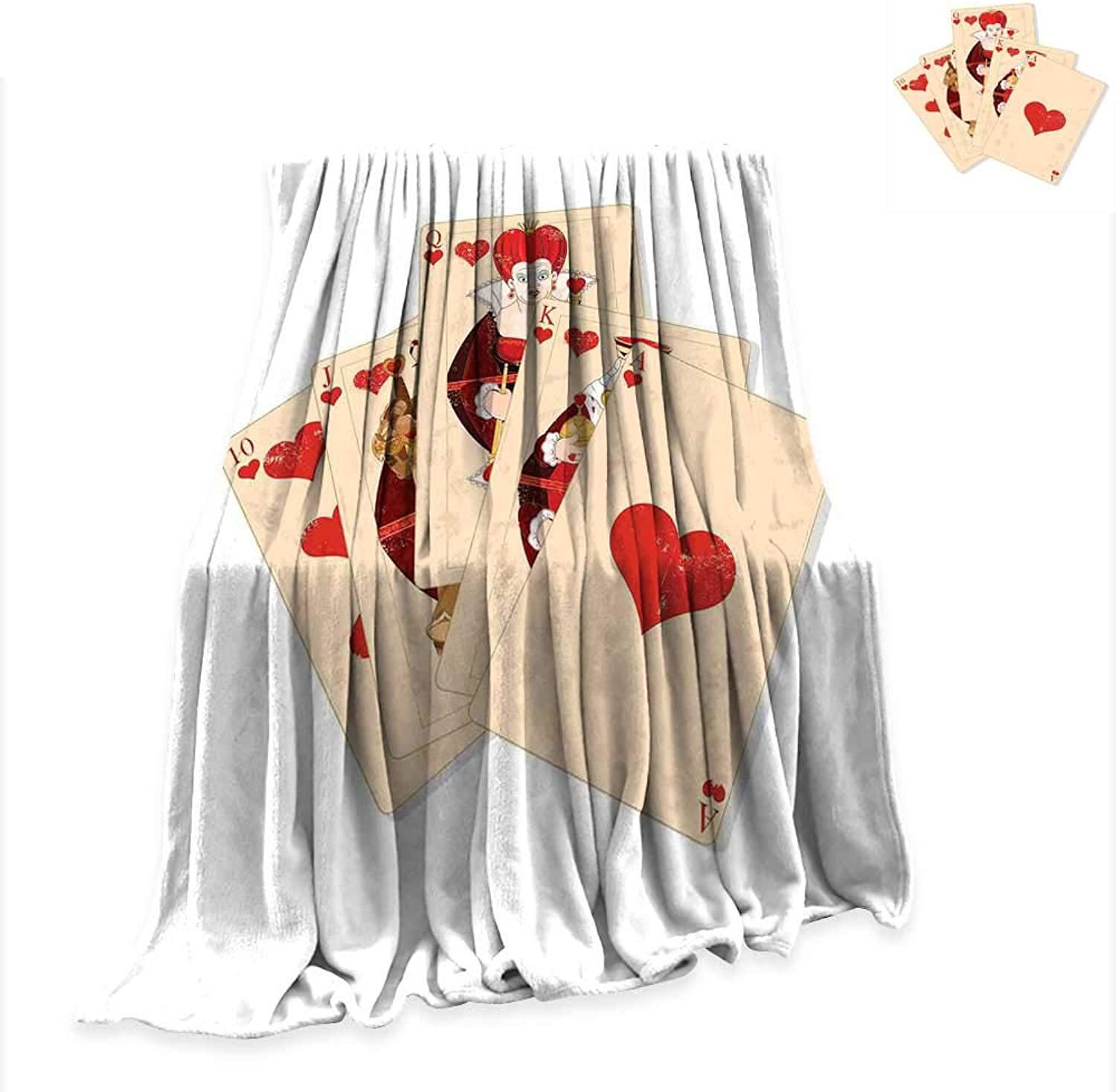 Baby Blanket Alice in Wonderland,Crown of Gambler Queen Alice Hearts Royal Fairy Flush Face Magic,Brown Red Ecru Throw Rug Sofa Bedding W51 x L60 inch