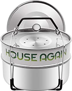 Silicone Coated Stackable Steamer Insert Pans, FDA Approved 18/8 Stainless Steel with 2 Lids to Steam or Reheat Foods, Perfect Pot in Pot Cooking Accessories for 5 6 8Qt Instant Pot Pressure Cooker