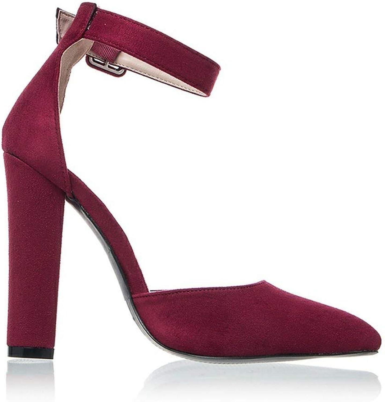 Heeled-Sandalswoman High Heels Wedding shoes Strap Heels Classic Heeled Sandals 12Cm Ladies Red Platform Pumps 014C1734-35,Red Wine,9.5
