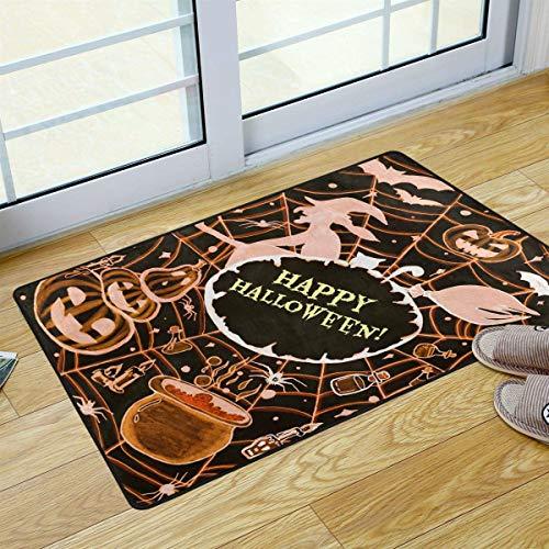 Mr.Lucien Felpudo de bienvenida para Halloween, felices monstruos asustados, para cocina, baño, al aire libre, porche, lavandería, sala de estar, alfombra lavable, 91,4 x 61 cm 2020189
