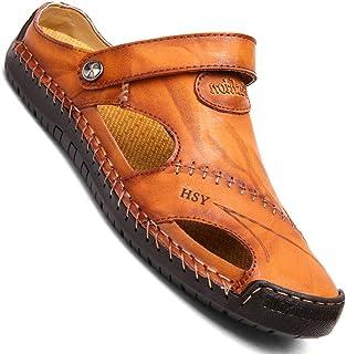 صنادل رجالية كاجوال مغلقة من الجلد من KINOW صنادل رياضية للشاطئ أحذية مسطحة