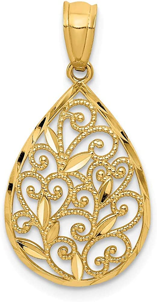 Solid 14k Yellow Gold and Textured Small Filigree Teardrop Pendant Charm