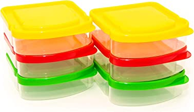 6 Pack Sandwich Containers-Durable Plastic Sandwich Box-Reusable Sandwich Container with Lids-Small Lunch Box for Snacks-School Breakfast-Lunch Sandwich Holder-Sandwich Keeper Case for Kids