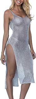 Summer Womens Beach Wear Cover Up Swimwear Bikini See Through Beachwear Long Maxi Beach Dress Shining Swimsuit Reflective