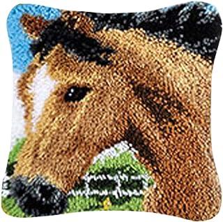 PARIO Stickpackung Pferd Kissenbezug 40x40 cm Kissen Hülle Latch Hook Kit Stickbild Sticken Kreuzstich Stickerei Stricken Basteln Handarbeit Stickset für Kinder und Erwachsenen