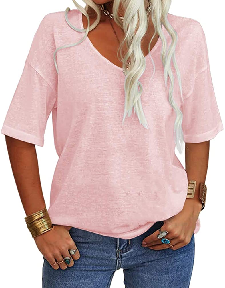 Same day shipping 2021 model Danedvi Women Fashion V-Neck Half Sleeves T L Solid Casual Shirt