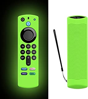 Glow Green Remote Case Replacement for Alexa FireTVstick (3rd Gen) 2021 Release Voice Remote, Silicone Protective Case Sle...