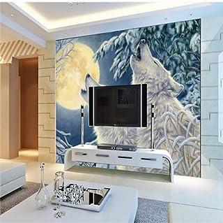 Xbwy カスタム写真の壁紙カスタム冬の月光白いオオカミの壁紙リビングルームレストランホテル壁画油絵壁紙-120X100Cm