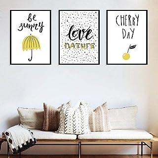 TZZXYXGS 3 Piezas De Dibujos Animados Carteles Nórdicos E Impresiones Cherry Umbrella Whale Friend Sunny Wall Art Canvas P...