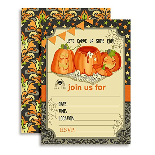 """Pumpkin Carving Halloween Birthday Party Invitations, 20 5""""x7"""" Fill in Cards with Twenty White Envelopes by AmandaCreation"""