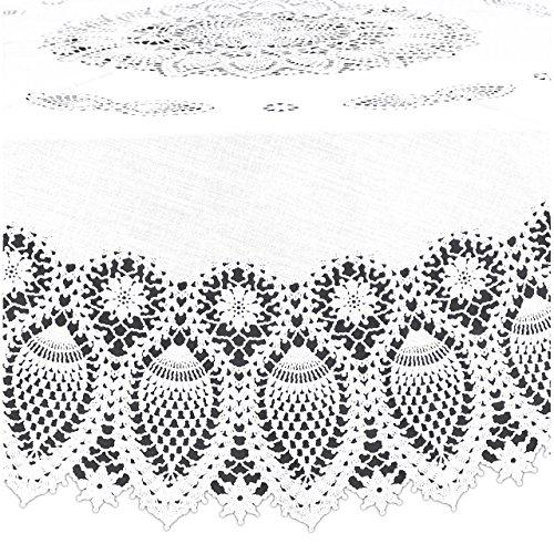 Kersten–· Outdoor–Mantel, Mantel redondo abwischbar HD de Collection 'Lace Crochet' 178cm; Color Blanco