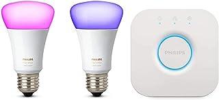 Philips Hue White en Color Ambiance LED Lampen Startersset, E27, Twee Lampen, 4. Generatie, Dimbaar, Bestuurbaar via App, ...