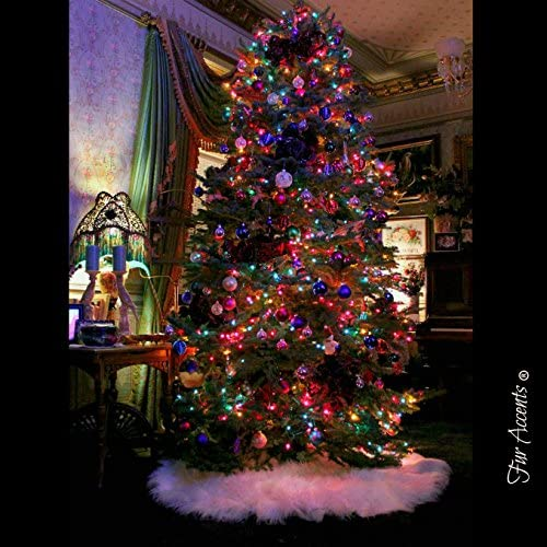 RED Christmas Tree Skirt Plush Luxury Sheepskin Pelt Shaggy Furry Round Scallop Skirts 30 36 48 60