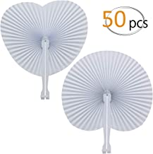 Cosweet 50 Pack White Folding Fans- Round and Heart Shaped Handheld Folding Accordion Paper Fans Assortment with Plastic Handle for Wedding Birthday Celebration Party Favors Bag Filler (2 Styles)