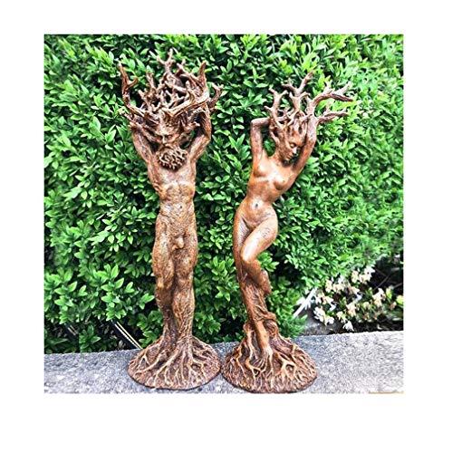 Detrade Harz Dryade Statue Figuren, Mann und Frau Dryade Ornament, Geheimnis Harz Statue Dekoration Baum Oberfläche Skulptur Gartenfigur, Garten Handwerk Garten Park Dekoration (A+B)