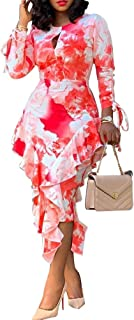 VERWIN Mid-Calf Falbala Three-Quarter Sleeve Round Neck Pullover Women's Maxi Dress Bodycon Dress