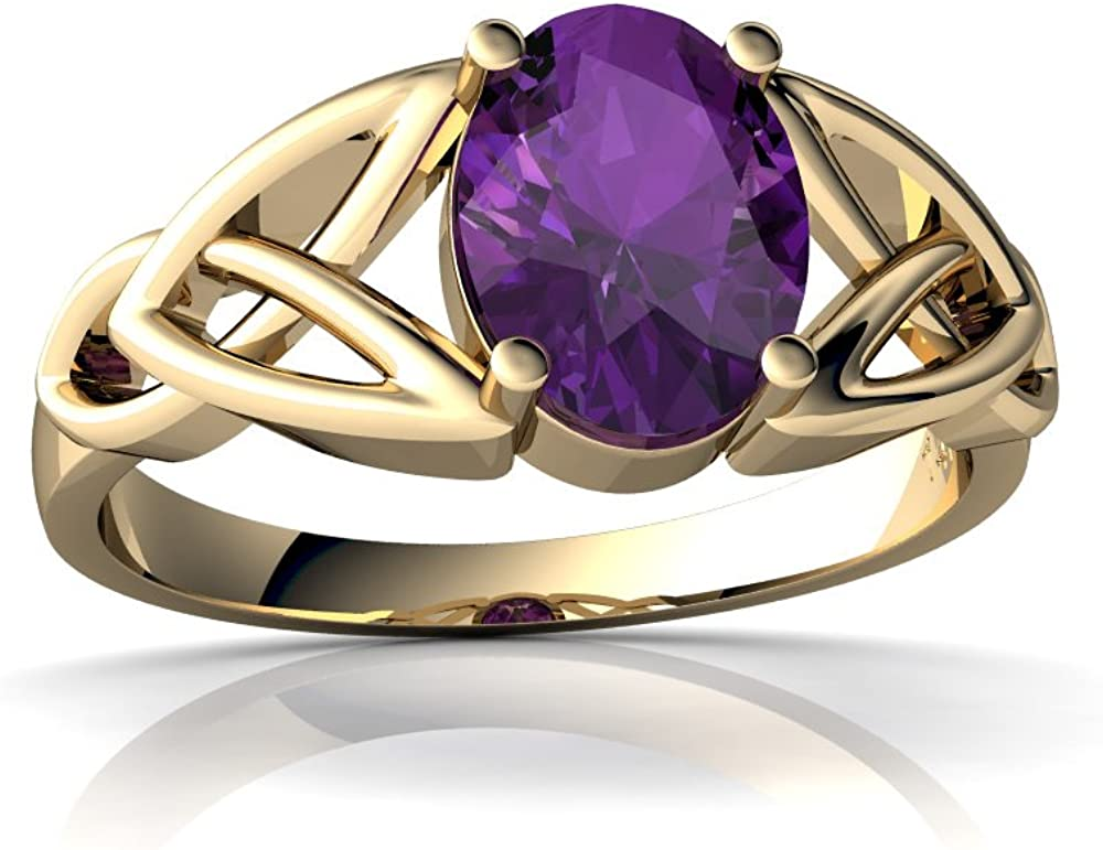 14kt Gold Amethyst 8x6mm Oval Trinity Knot Ranking TOP10 Celtic Ring Challenge the lowest price of Japan