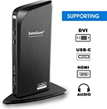 Zettaguard USB 3.0 Universal Laptop Dual Monitor Docking Station  Dual Video Monitor Display HDMI & DVI/VGA with Gigabit Ethernet, Audio, 6 USB Ports for Laptop, Ultrabook and PC