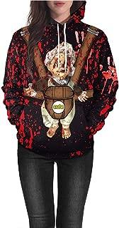 iLOOSKR Casual Pockets Hooded Sweatshirt Women's Halloween Blood Hand Print Long Sleeve Pullover Blouse Sweatshirt