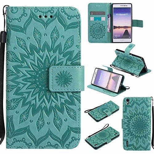 pinlu® PU Leder Tasche Etui Schutzhülle für Huawei Ascend P7 (5 Zoll) Lederhülle Schale Flip Cover Tasche mit Standfunktion Sonnenblume Muster Hülle (Grün)