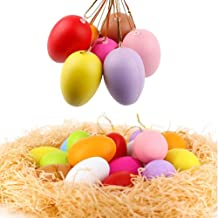 24Pack Plastic Colorful Easter Egg Ornaments Home Decorations, Decorative Hanging Easter Eggs for DIY Crafts and Assorted ...