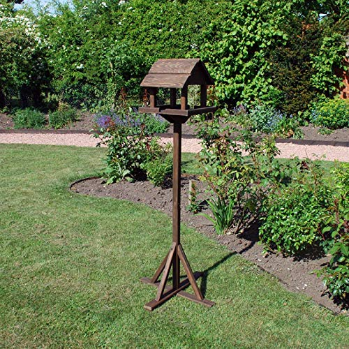 Unibos Traditional Premium Wooden Bird Table Garden Birds Feeder Free Standing Deluxe Feeding Station