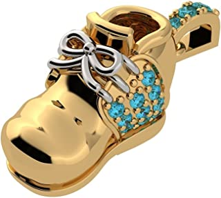 NANA 14 karat Gold Birthstones Baby Shoe Charm-Pendant-Necklace made with Swarovski Zirconia