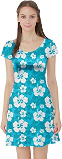 Womens Hibiscus Hawaii Flowers Floral Summer Tropic Tropical Leafs Plumeria Short Sleeve Dress, XS-5XL