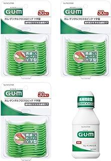 GUM(ガム) デンタルフロス&ピック Y字型 30P 糸付きようじ 3個パック+おまけつき