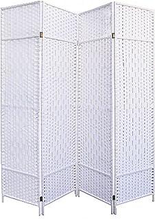 comprar comparacion Hogar y Mas Biombo Blanco Bambú Natural 180 cm, Biombo Separador de Ambientes/Vestidor. 4 Paneles 180x180cm
