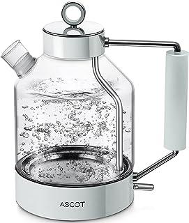 کتری برقی ، کتری چای برقی ASCOT کتری برقی شیشه ای 1.6 لیتر 1500 وات ، فولاد ضد زنگ طلا ، بدون BPA ، بی سیم ، خاموش شدن خودکار ، محافظت در برابر جوش خشک-سفید