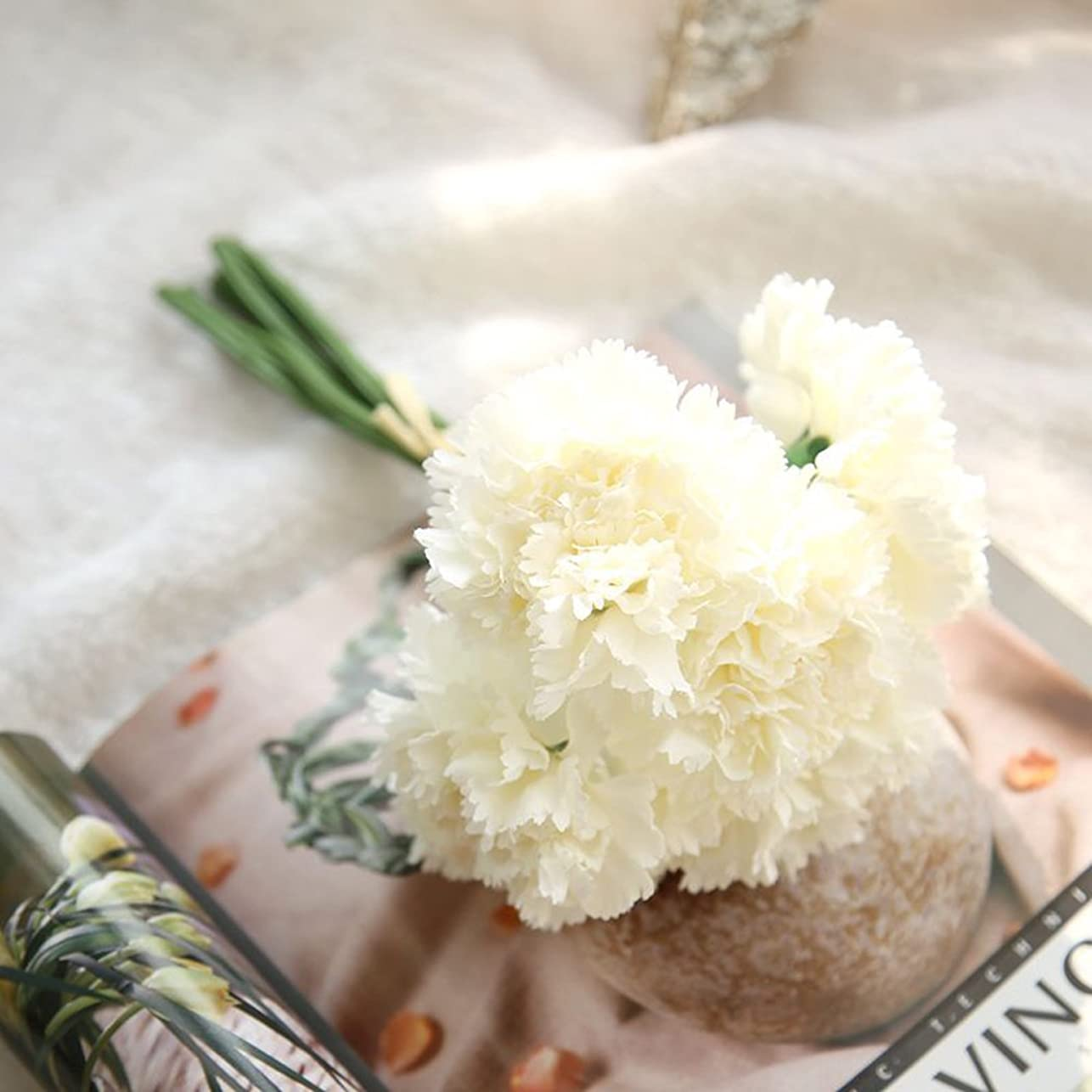うんざり盲信オリエントFunpa 造花 カーネーション インテリア 母の日 プレゼント 会場 結婚式 デコレーション 装飾 人工シルク (クリーム)