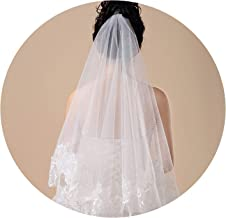 Women 150cm Bridal Short Wedding Veil White One Layer Lace Flower Edge Appliques