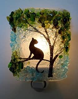 Cat in Tree Recycled Glass Night Light by Reborn Glass Nightlight, Nitelite, Nite Lite