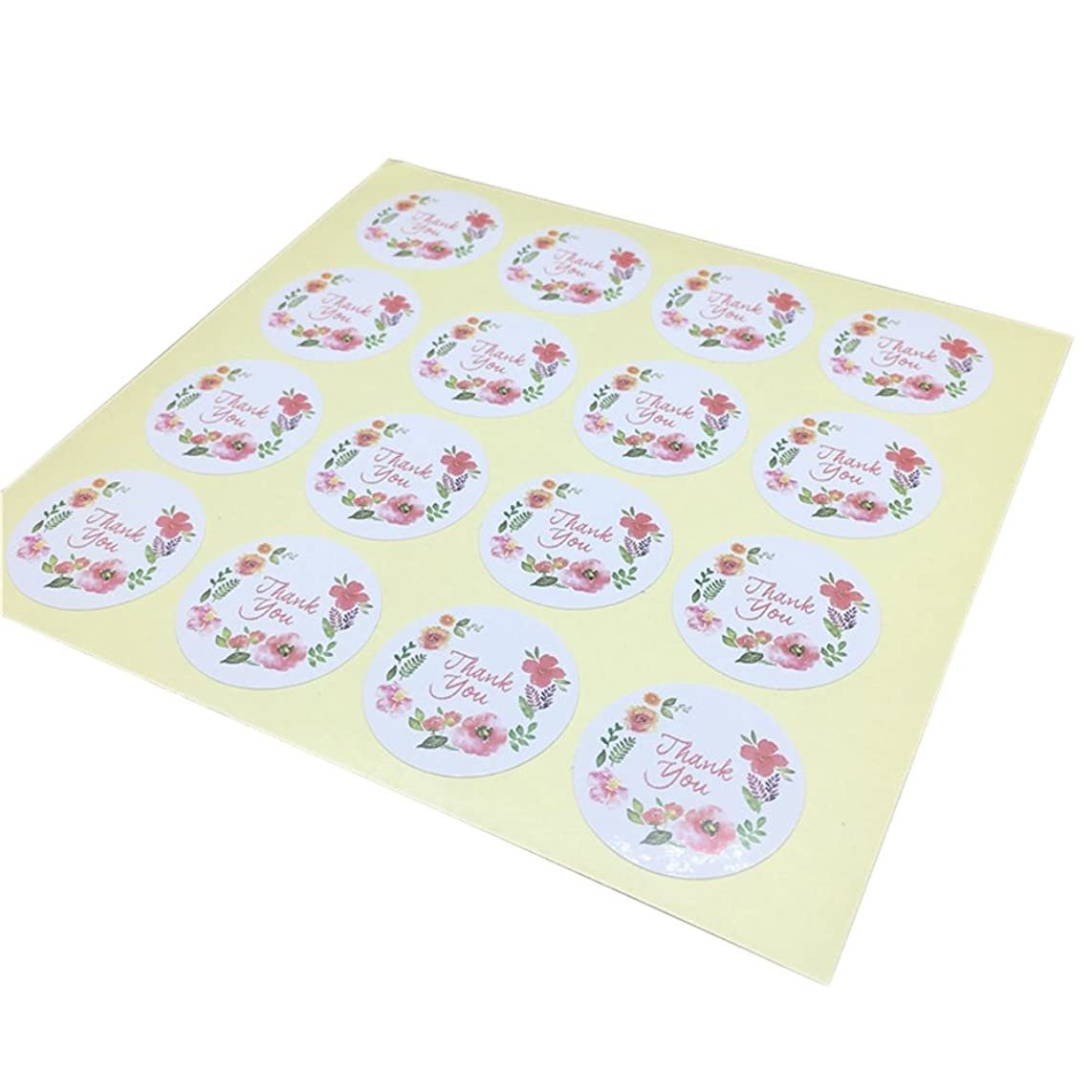 Floral Colorful 10 Sheets(160 pcs) thank you Stickers 3.5X3.5cm DIY Cookie Candy Gift Packaging Label Stickers Craft Wedding Party Adhesive Paper Seals