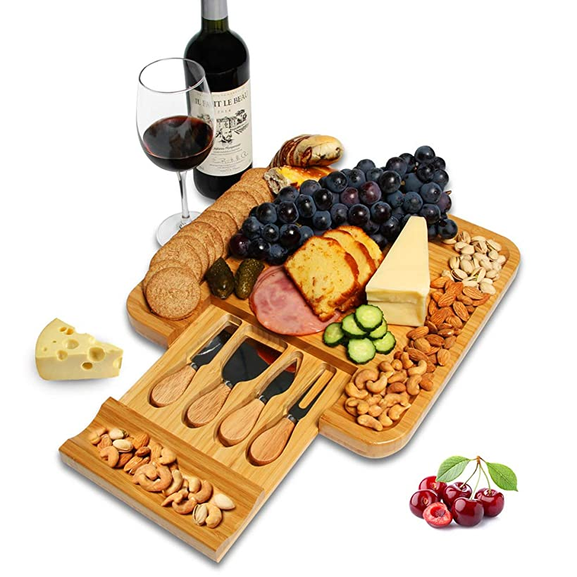 Elevkin Bamboo Cheese Board and Knife Set with Cutlery, 5pc – Natural Wood Serving Platter Charcuterie Tray with Slide-Out Drawer for Utensils, Tools – Perfect for Housewarming Gift.
